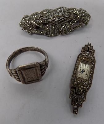 Sterling silver signet ring, Art Deco brooch, silver cocktail watch - no strap