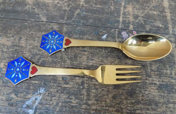 Set of Danish gold on silver enamelled collector's fork & spoon, signed & stamped