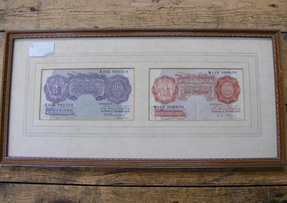 2x Ten Shilling notes - framed