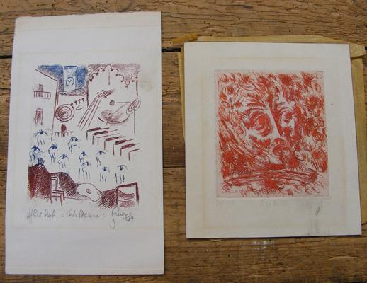 Two artists proofs etchings 1978 and 1979