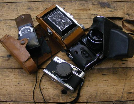 Selection of vintage cameras and accessories
