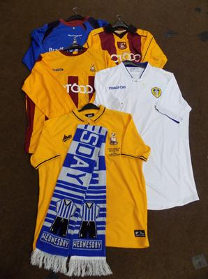 4 x football shirts + 1 Sheffield scarf, 3 x Bradford City, 1 polo shirt, 1 Leeds Utd.