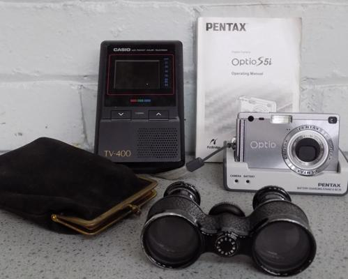 Pentax OPT10 camera + charger, card etc... + 1970's Casio LCD pocket TV 400 + vintage opera glasses