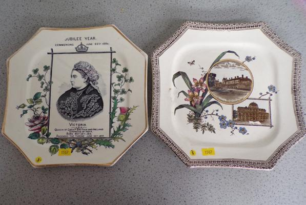 2 x Victorian commemorative plates, Queen Victoria, Ottowa/Boston