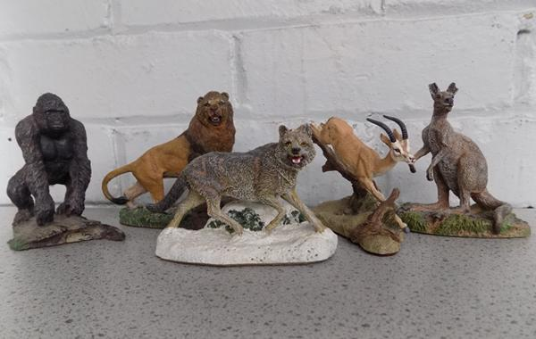 5 Franklin Mint 'The Wildlife trust' series sculptures