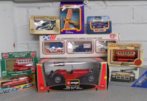 Collection of boxed diecast + large scale Burago car