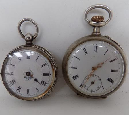 2x Antique silver pocket watches a/f