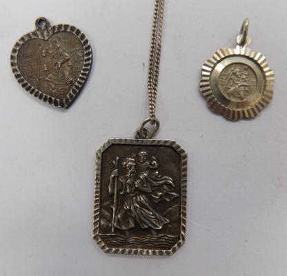 3 x silver St. Christoper pendants & chain