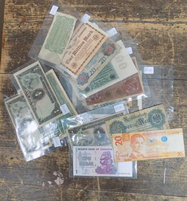 Collection of foreign bank notes inc early German