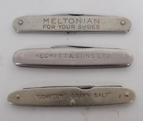 3x Advertising vintage pen knives, Reckitt & Sons/Compton gravy/Meltonian shoes