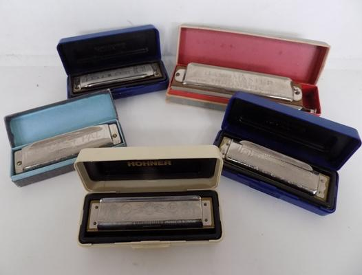 5x Various M.Hohner harmonicas-all boxed