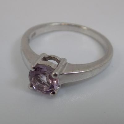 Sterling silver purple stone Gemporia ring, as new