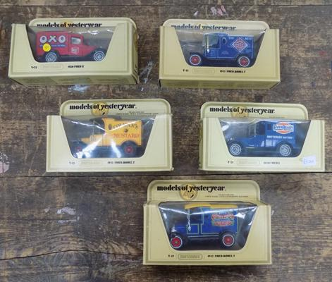 5x Boxed diecast Matchbox models of Yesteryear