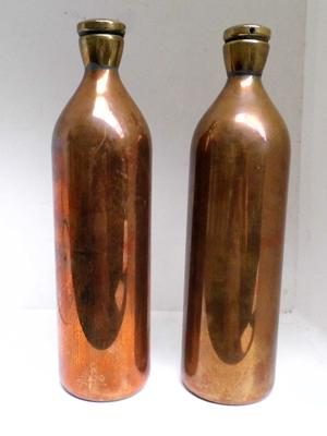 "2x Brass and copper bottles heavy vintage items - 11"" tall 3"" wide"