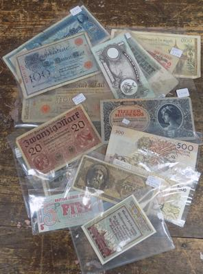 Collection of foreign & bank notes inc early German & Hungarian