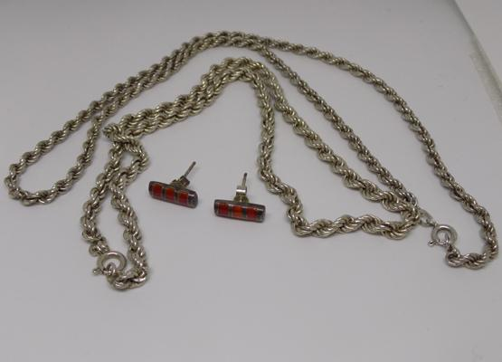 2x Silver rope chains and pair of silver ear studs