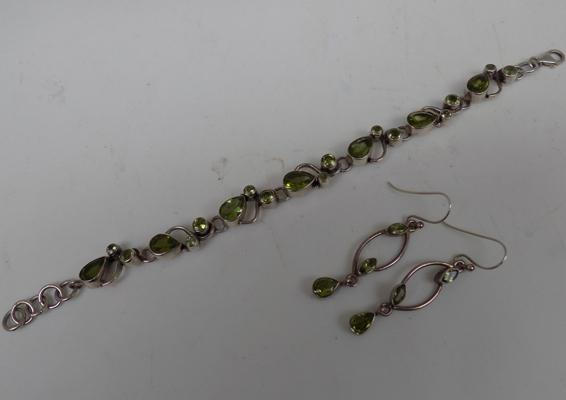 Sterling silver peridot bracelet + matching earrings