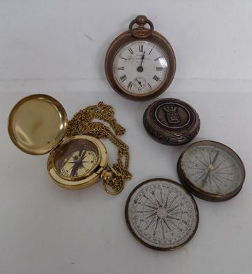 2x Cased compasses, white metal compact case & pocket watch travelling clock