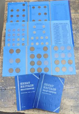 Whitman coin holder inc sets of Farthings, sixpences & pennies