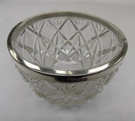 Silver topped cut glass bowl