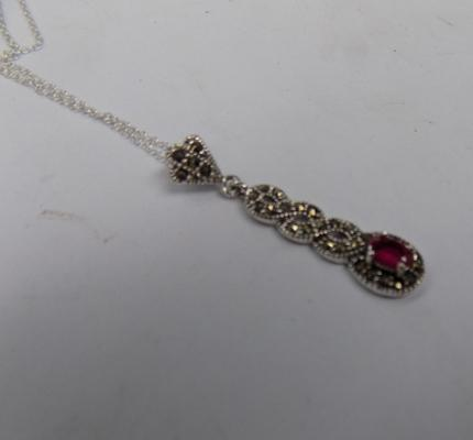 Silver red stone & marcasite pendant on silver chain