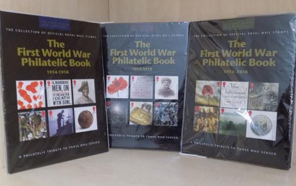 3 x 1914 - 1918 First World War, Philatelic book, stamp collections