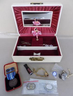 Vintage musical  jewellery box plus contents - medal, silver earrings, cigarette holder
