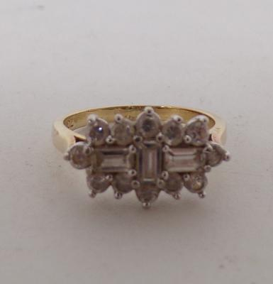 9ct Gold on 925 silver ladies CZ engagement ring size Q1/2