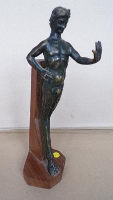 Antique bronze satyrs/fawn on wooden stand