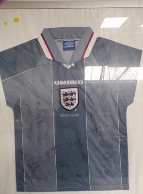 Framed 1996 Euro Grey England football shirt with autographs