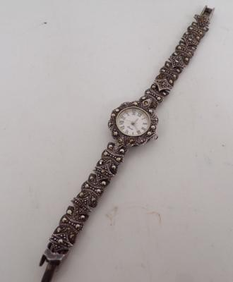 925 Silver quartz Art Deco style ladies marcasite watch