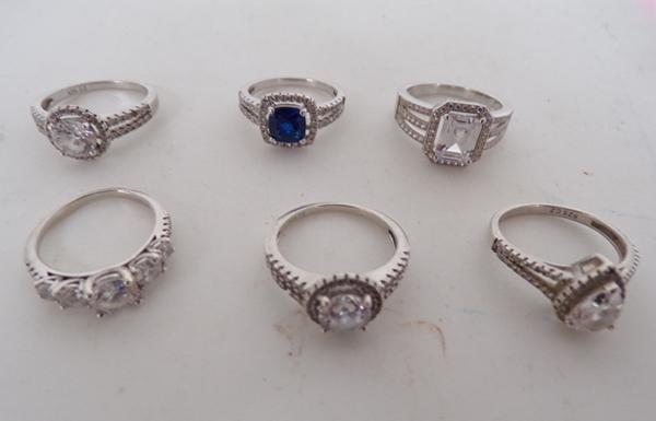 6x Assorted ladies 925 silver CZ rings
