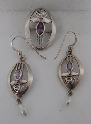 Rennie Mackintosh style amethyst brooch, amethyst & pearl earrings 925 silver