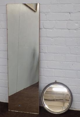 2 x mirrors - circular hall mirror + full length dressing mirror