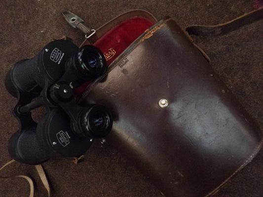 Large vintage binoculars by Ross of London, in leather case