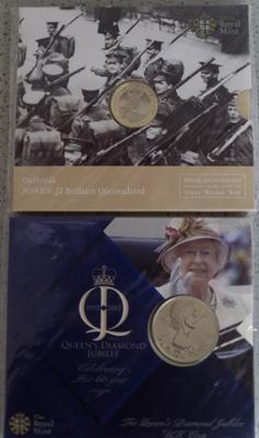 The Queen's Diamond Jubilee £5 coin & 1st World War 100th anniversary £2 coin