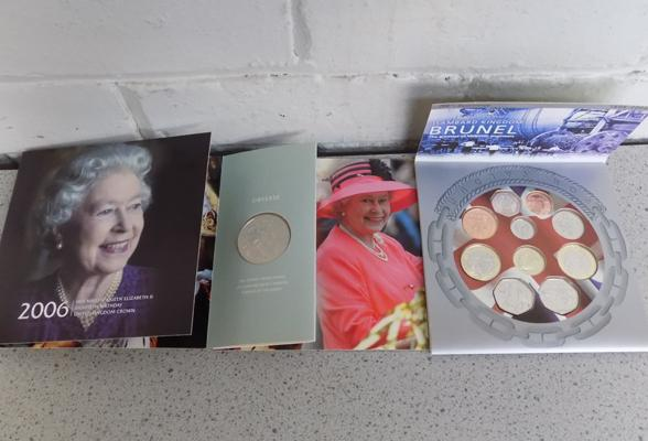 Queen Elizabeth 80th Birthday silver £5 UK Crown & Brunai 200th anniversary coin collection 1806-2006