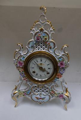Large Dresden mantle clock. Top has been repaired.