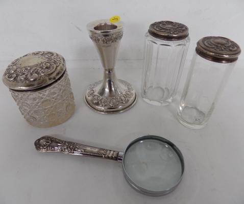 3x 925 Silver topped vanity jars, 925 silver candle stick + 925 silver handle magnifying glass