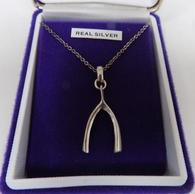 Silver wishbone pendant on chain