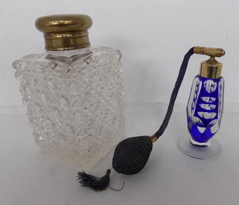Bohemian glass atomiser & cut glass scent bottle brass top