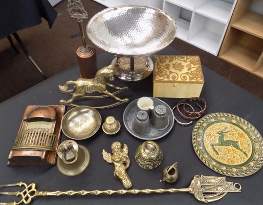 Vintage brass & collectables, incl. pewter cruet set, fruit bowl etc...