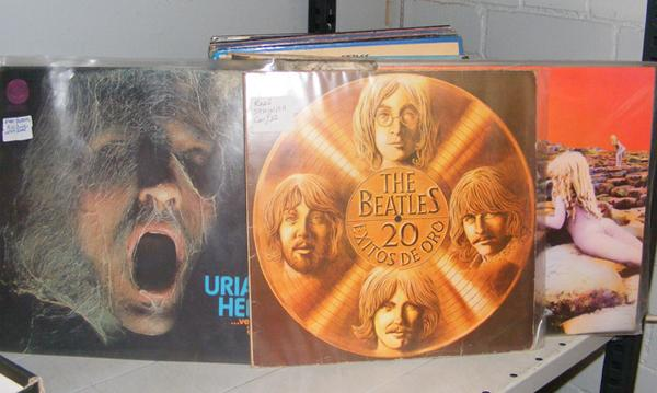 Box of LPs, incl. Beatles, Led Zepplin + first pressing of Uriah Heep 'Very 'Eavy, very Humble'