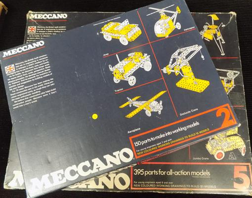 1950's/60's Meccano sets, Number 5 set &  Number 2 set, boxed, 3 layers