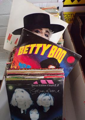 Box of 1980's, 90's pop singles
