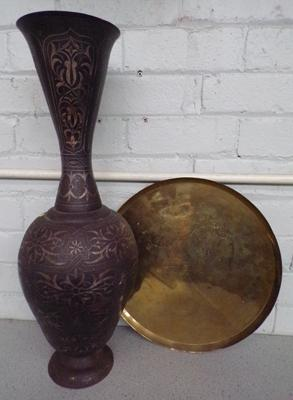 Large brass tray & tall metal vase