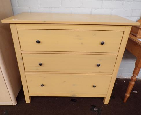 Set of three pine drawers