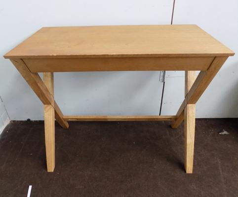 Oak console table/desk - drawer needs repair, 19 inches x 35.5 inches x 29.5 inches