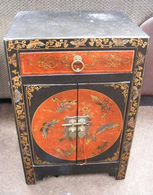 Oriental lacquered cabinet with drawer