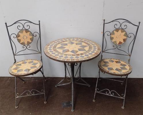 Stone top bistro table & two chairs
